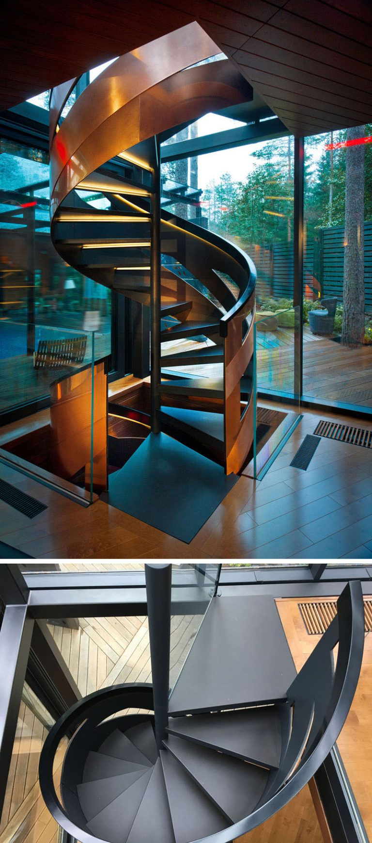 Best This Private Gym Is Surrounded By A Forest Spiral Stairs 400 x 300