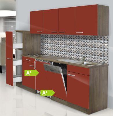 Respekta Küchenzeile KB225EYR 225 cm Rot-Eiche York Nachbildung - küchenzeile 220 cm mit elektrogeräten