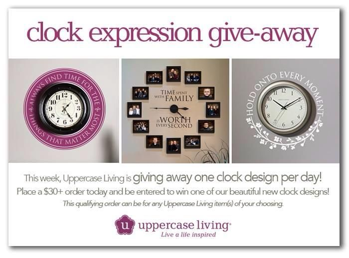***GIVEAWAY ALERT*** This week 9/23/14 - 9/27/14 , Uppercase Living is giving away one clock design per day! Place a $30+ order today and be entered to win one of our beautiful clock designs! This qualifying order can be for any Uppercase Living items of your choice. Beautifully showcase the times in your life with an Uppercase Living clock design! #ULvinyl #UppercaseLiving #ULAAA