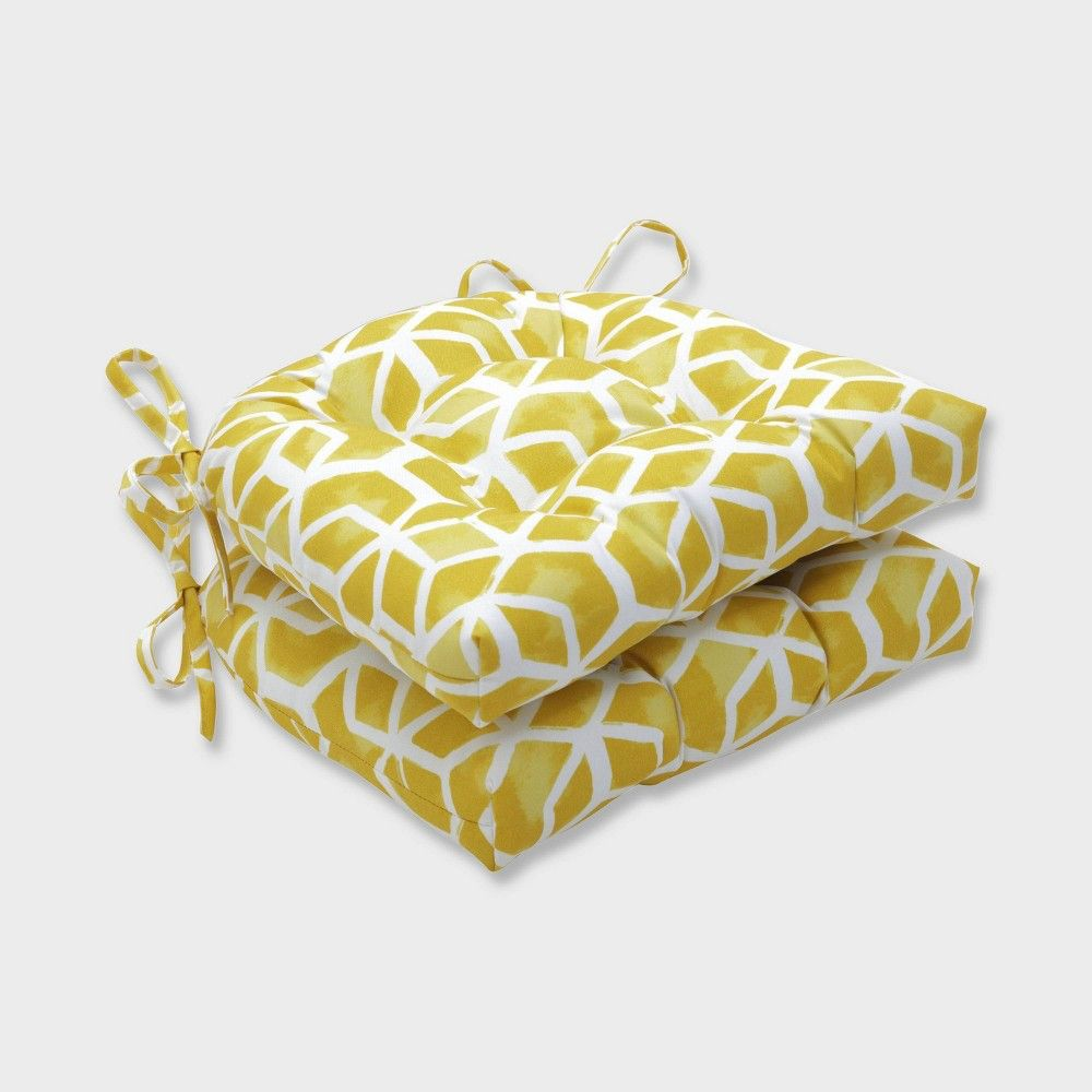 2pk Celtic Pineapple Reversible Chair Pads Yellow Pillow Perfect