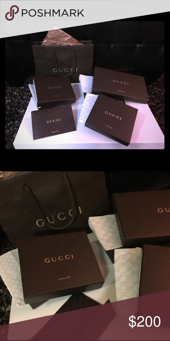 e44384f1c21a Empty Gucci Boxes 3 empty men's wallet boxes one women's wallet box. Gucci  paper. Small Gucci Shopping Bag with paper. One Gucci authentication  Envelope ...