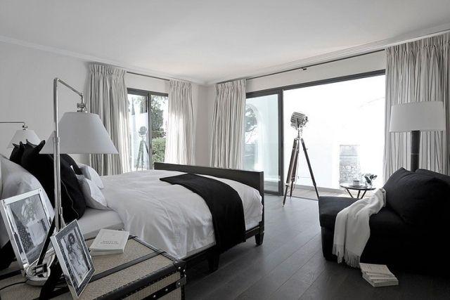 schlafzimmer schwarz weiß glas schiebetüren terrasse vorhänge RI - vorhänge für schlafzimmer