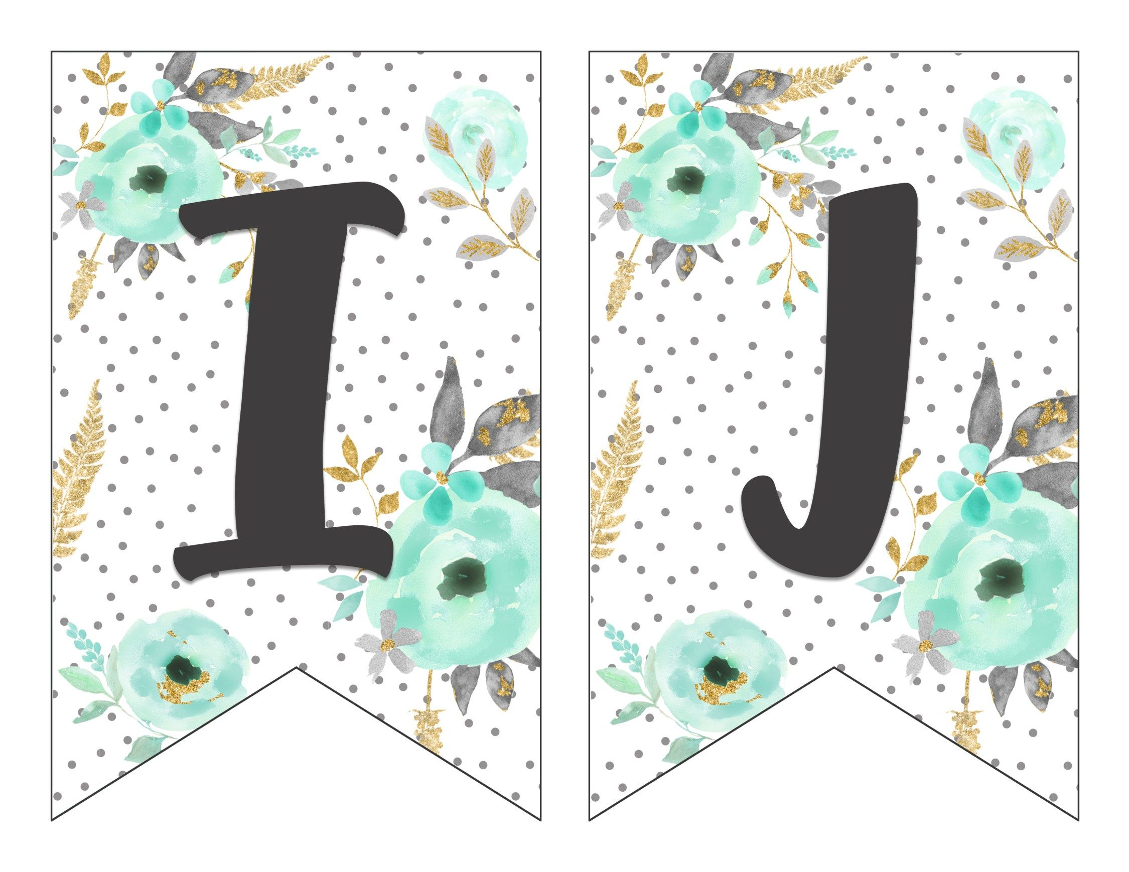Free Printable Alphabet Banner {MINT& GOLD | Free ...