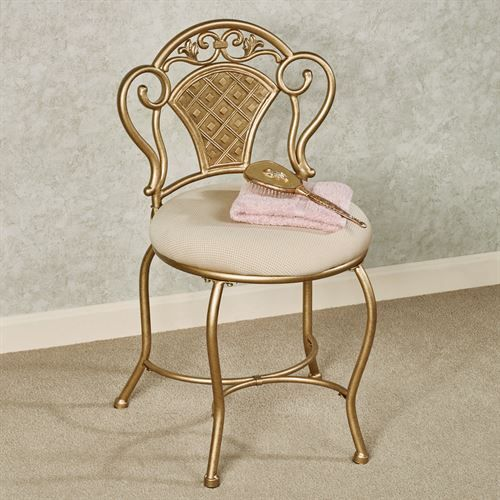 Claira Gold Upholstered Vanity Chair Vanity Chair Chair Modern Swivel Chair