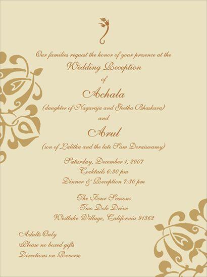 Indian Wedding Invitation Sample And Wording
