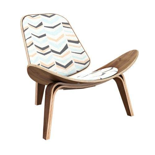 Best Nyekoncept Shell Chevron Accent Chair Blue Tan Chair 400 x 300