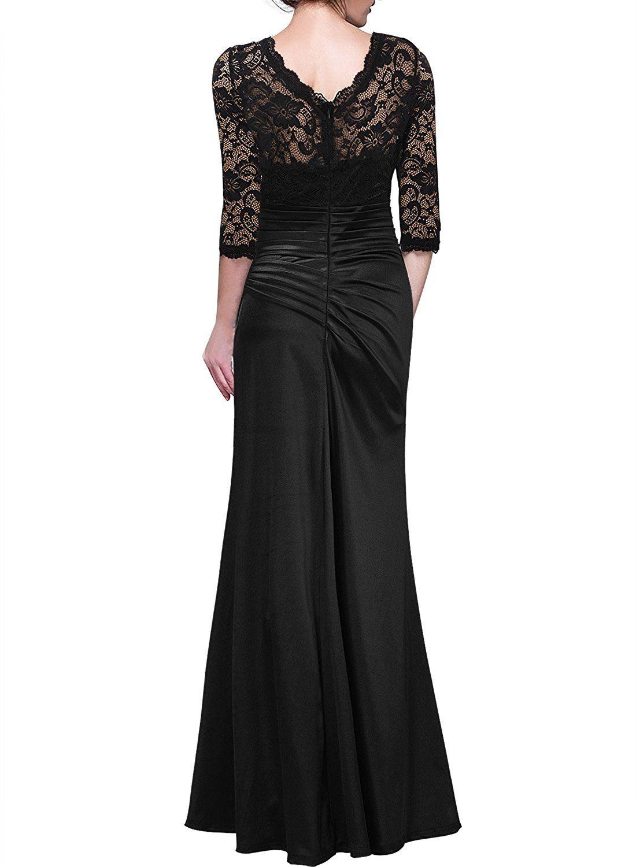 Miusol Women\'s Retro Floral Lace Vintage 2/3 Sleeve Slim Ruched ...