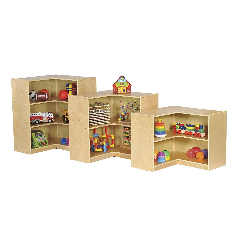 "ECR4Kids Birch Corner Classroom Storage Cabinet with Casters, Natural, 36"" H"