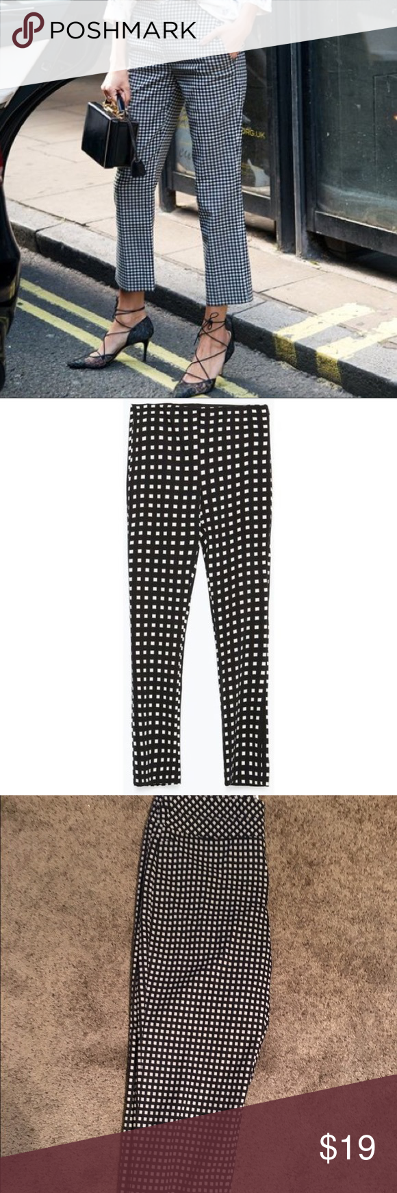 Elle beautiful Navy/Cream checked cropped pants 10 🎀Elle beautiful Navy/Cream...,  #beautiful #checked #cropped #Elle #NavyCream #pants #tennisshoeoutfitsummerplussize