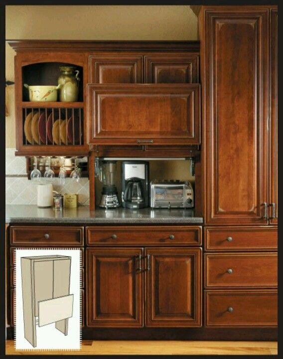 Garage door cabinet to hide counter appliances. It ...