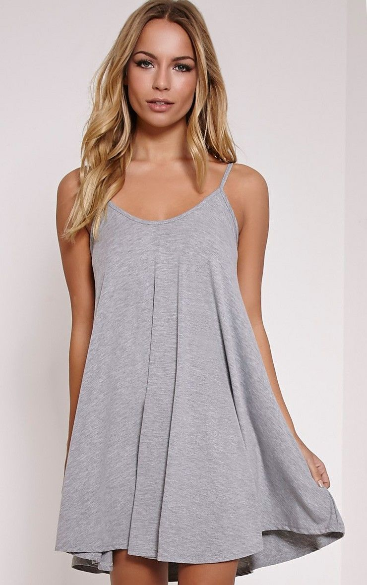 d0f3b918f074 Basic Grey Marl Strappy Jersey Swing Dress