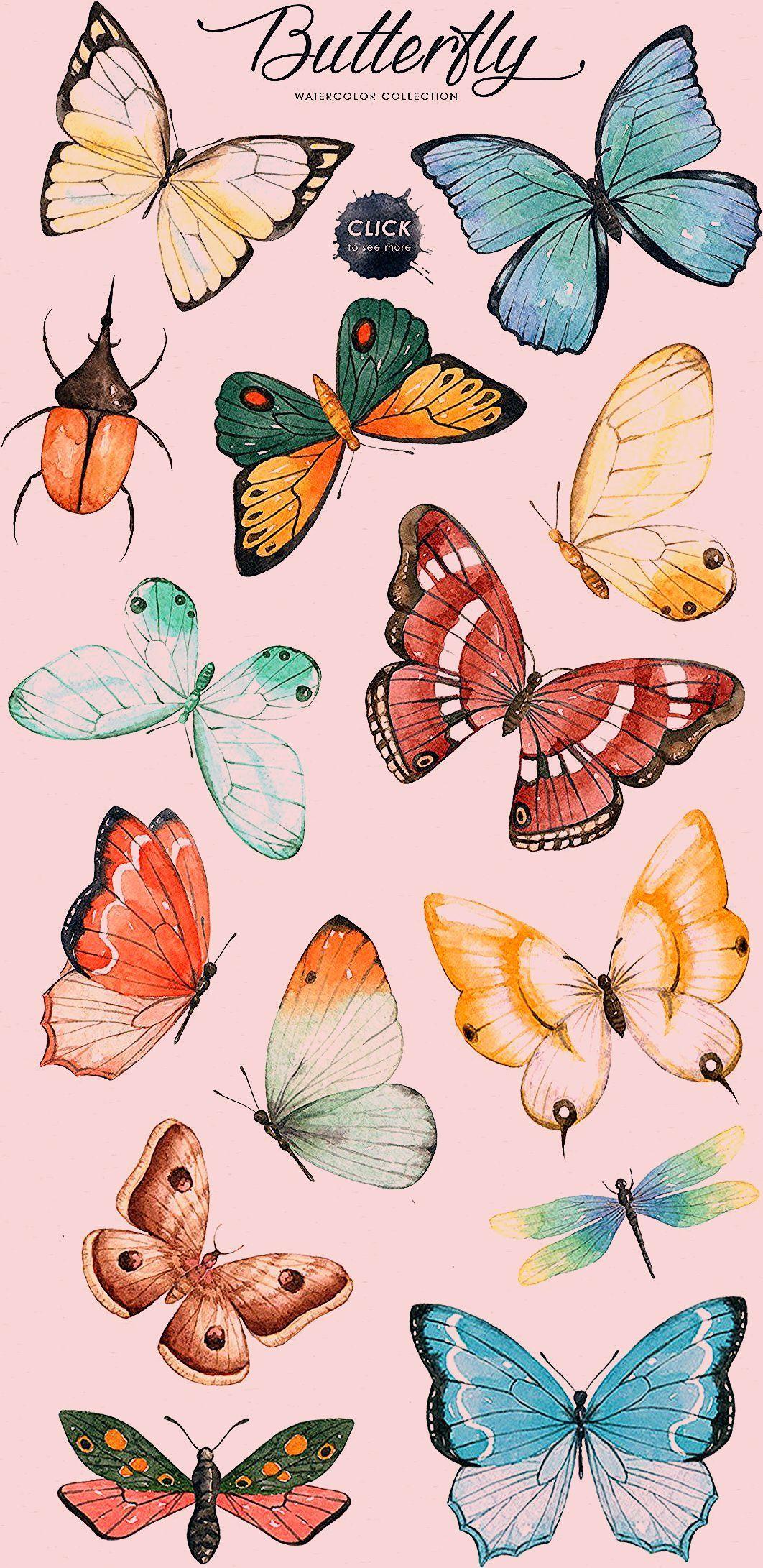 Druckvorlage Für Die Deko Schmetterlinge Butterfly Watercolor Anime Artwork Butterfly Drawing