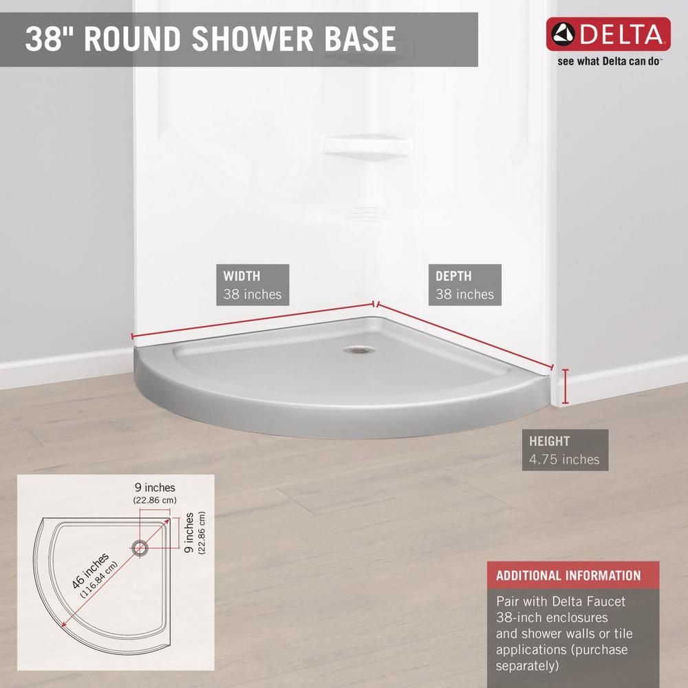 Delta 46 In X 38 In Single Threshold Shower Base In White B711917 3838 Wh The Home Depot Shower Base Corner Shower Base Corner Shower