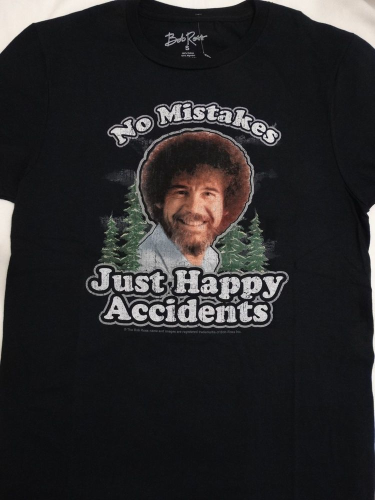 2fcf3a5a83f5f Bob Ross Artist No Mistakes Just Happy Accidents Joy Of Painting T-Shirt…