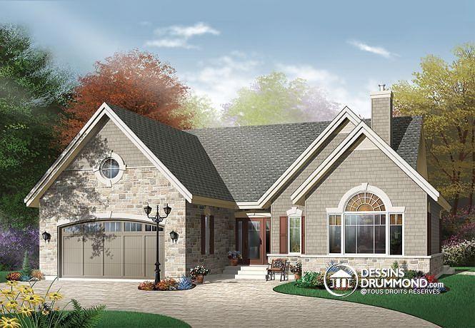W3217 - Plan de plain-pied craftsman, 2 chambres, plafond cathédrale - liste materiaux construction maison