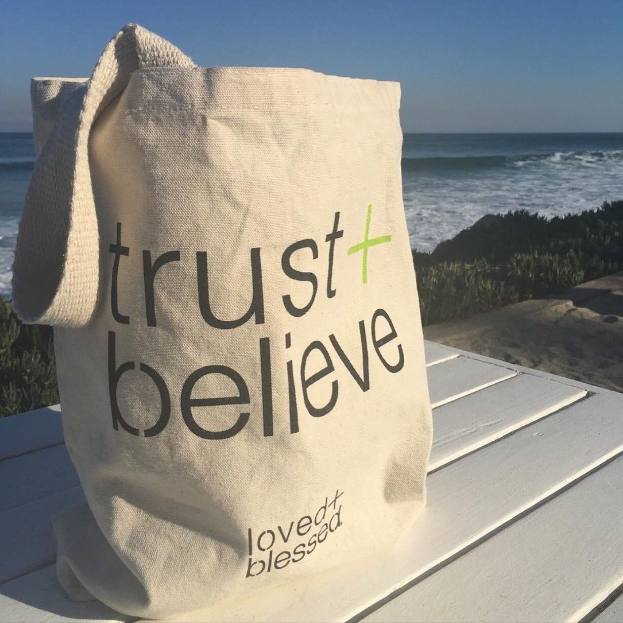 This beautiful picture of the trust tote was sent to us by a lovedandblessed lady. What a view!  The ocean is always an amazing reminder of God's power. #trustandbelieve