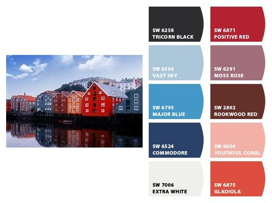 Norwegian Fishing Village Inspiration For Exterior Home Color Palette And Landscape Plantings