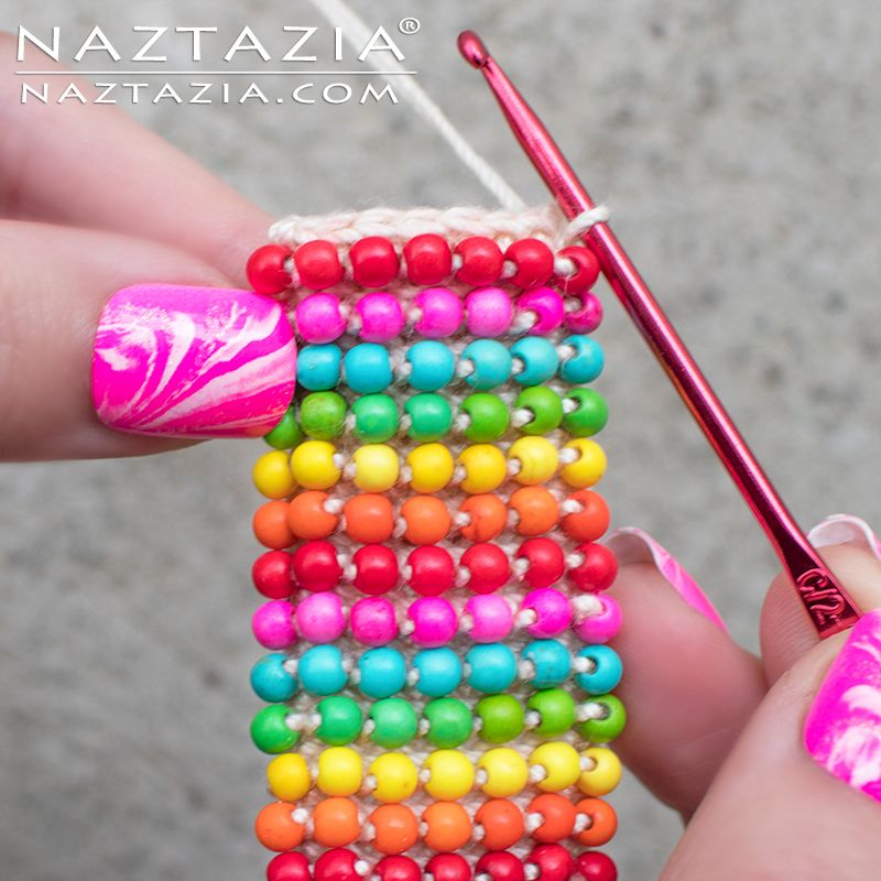 Crochet Boho Bead Bracelet - Bohemian Beaded Cuff - DIY Tutorial ...