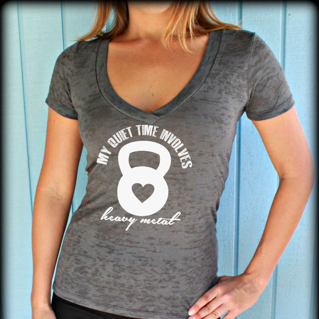 Womens Workout V Neck T Shirt My Quiet Time Involves