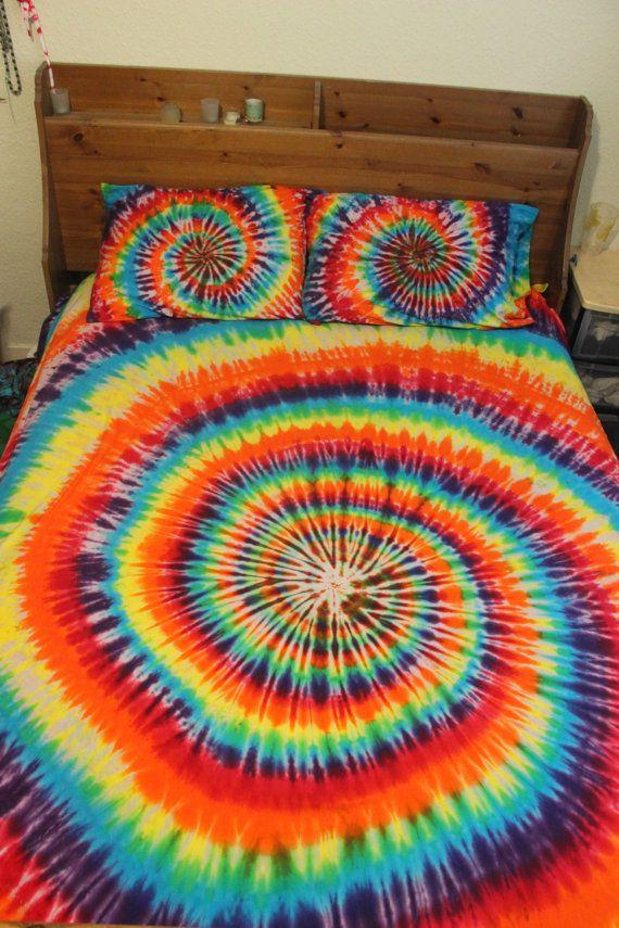 Tie Dye Sheet Set 100 Cotton Rainbow Black Spiral Tie