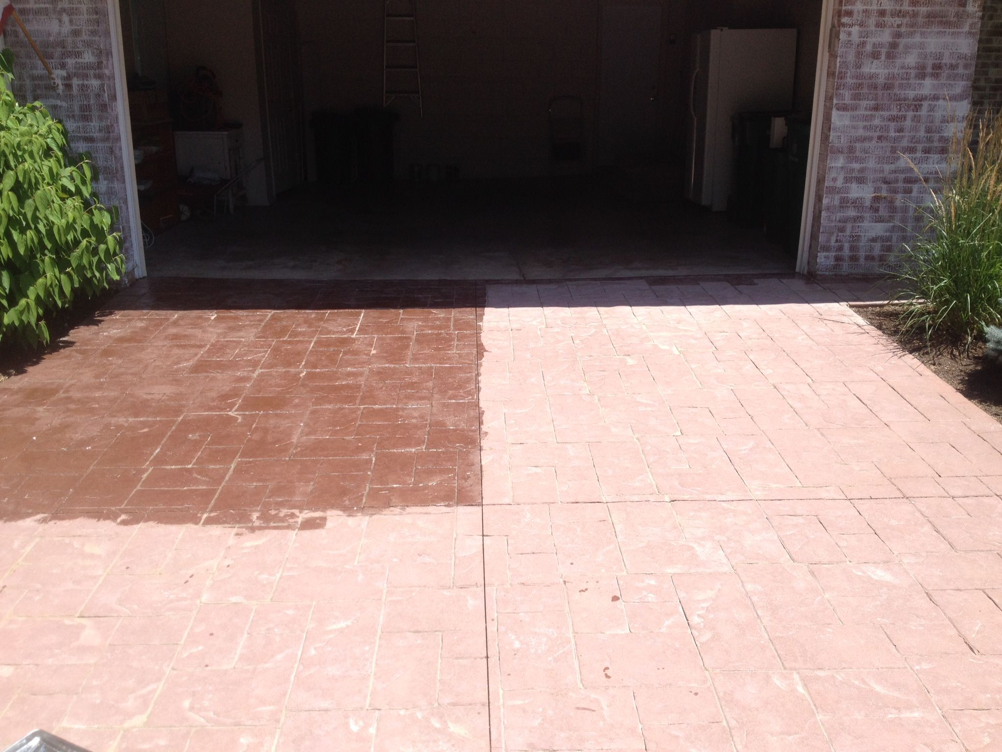 Sealed Vs. Unsealed Stamped Concrete Driveway. The Difference Is Greater  Than You Might Think