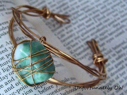 Wire wrapped crystal cuff bracelet