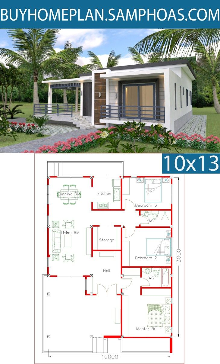 Sketchup Home Design Plan 10x13m With 3 Bedrooms Samphoas Com Simple House Design Home Design Plan House Design