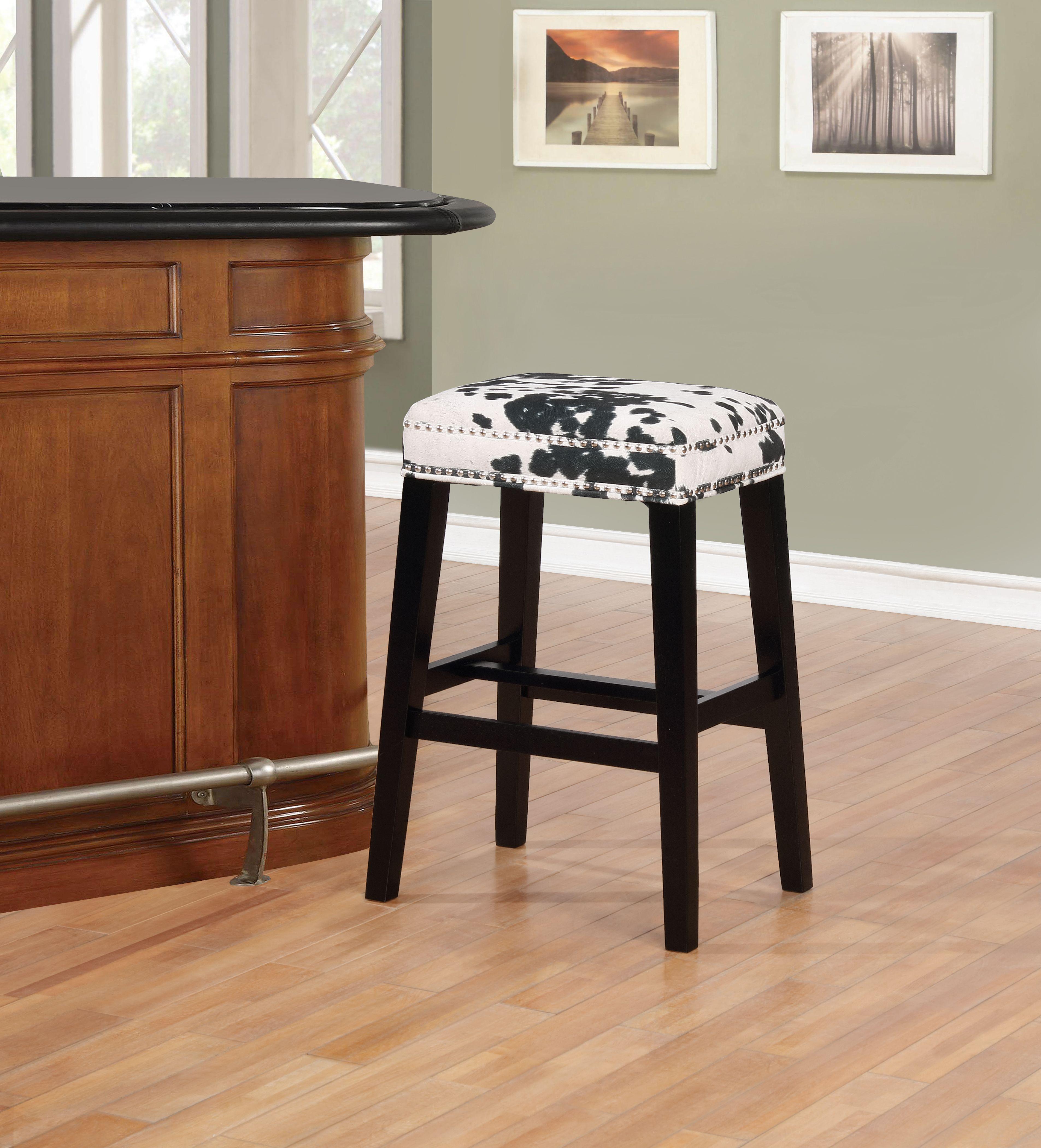 Miraculous Linon Walt Black Cow Print Bar Stool Multi Products Dailytribune Chair Design For Home Dailytribuneorg