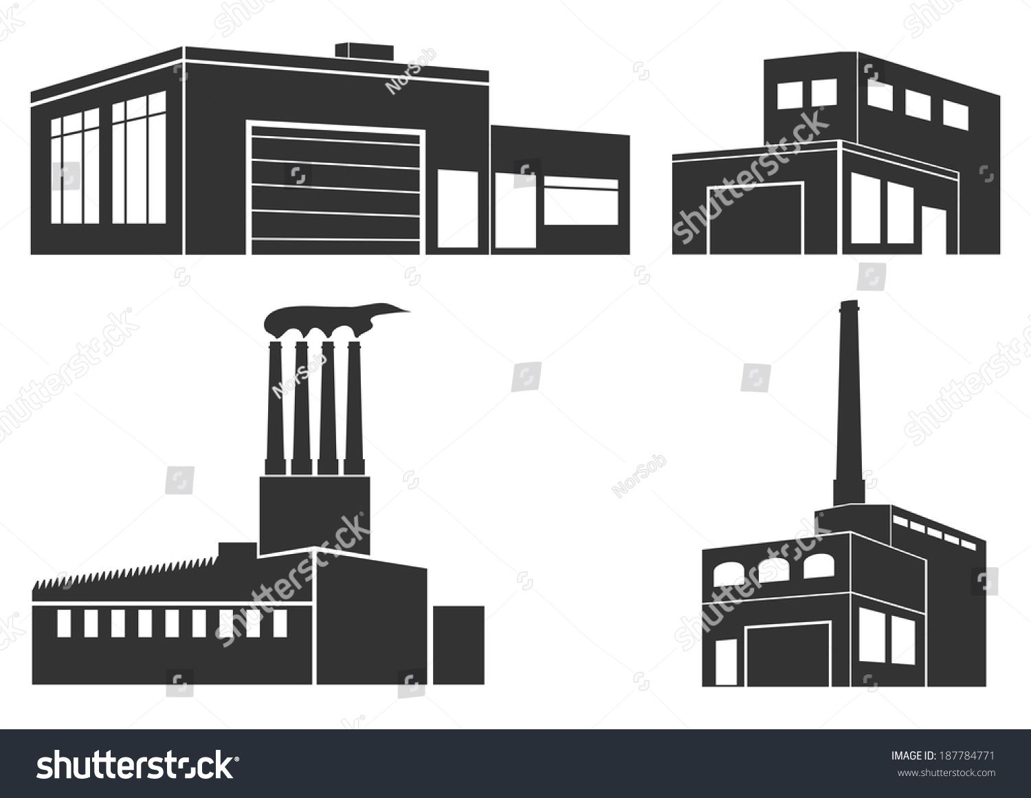 Set Of Silhouettes Of Industrial Buildings On A White Background