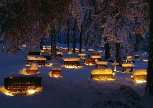 A tradition in Finland, and in many other parts of Europe, families light white candles on the graves of their ancestors on Christmas Eve.