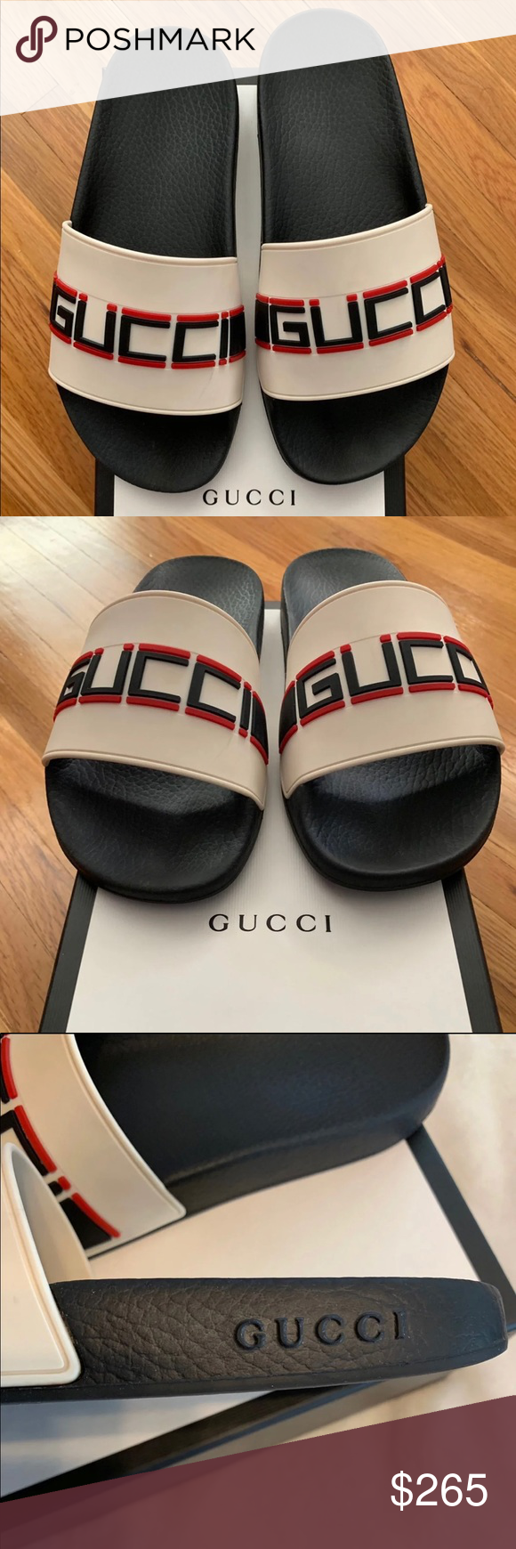 3b4d398692fadd NEW GUCCI BIEGE STRIPE SLIDES SZ 10 NEW GUCCI FLIP FLOPS   SANDALS ITEM  DESCRIPTION