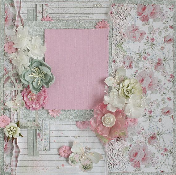 Premade 12x12 Shabby Chic Scrapbook Layout, Prima