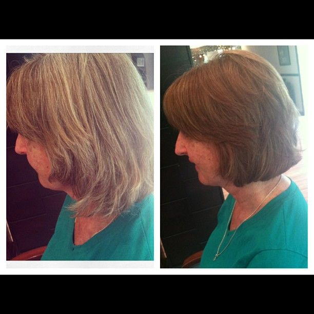 transformation from drab to fab.  shorter style.  gray to light brown