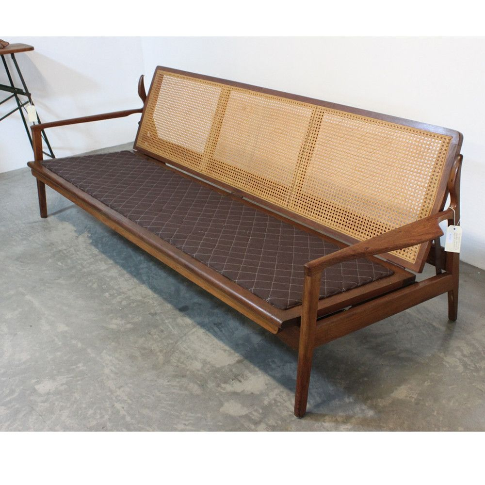 Fred Lowen; Blackwood and Cane 'Narvick' Daybed for Fler, ... - Fred Lowen; Blackwood And Cane 'Narvick' Daybed For Fler, 1960s