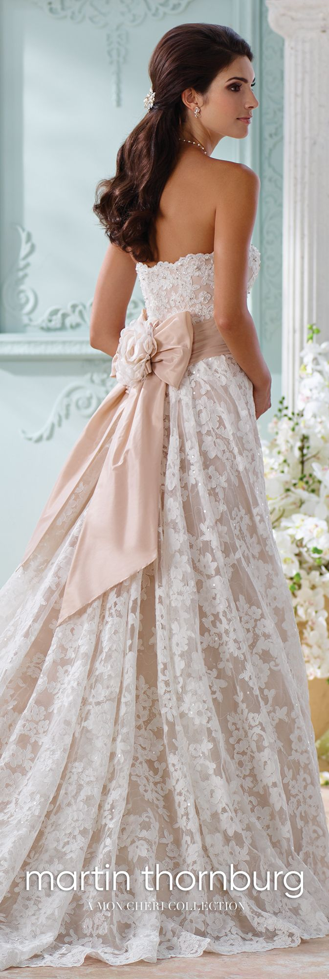 Lace aline gown with back bow wedding dress yalene