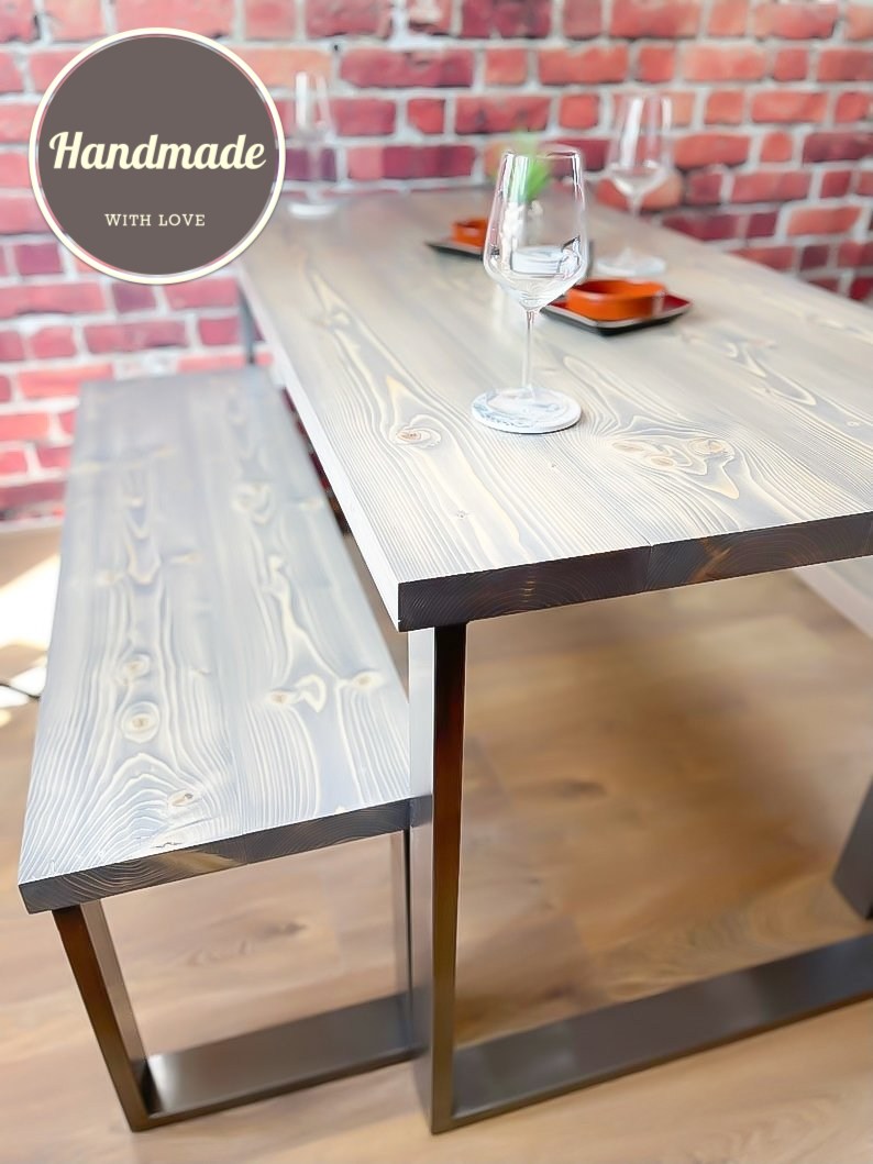 Dining Table & Benches - Square Legs In Clear Coat Or Black - 240cm - No Benches / Whiskey / Clear Coat Legs