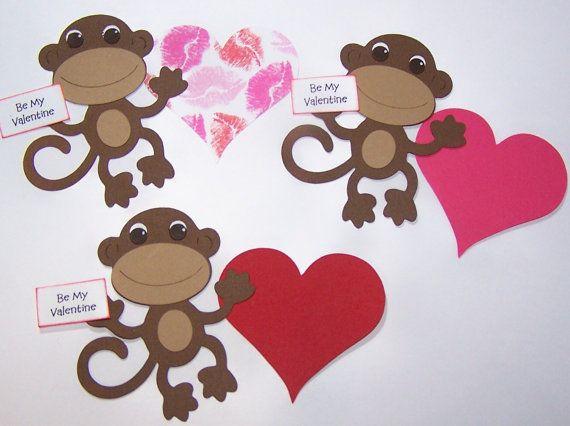 Die Cut Paper Monkey Valentine Day Red Brown Paper Piecings – Monkey Valentine Cards