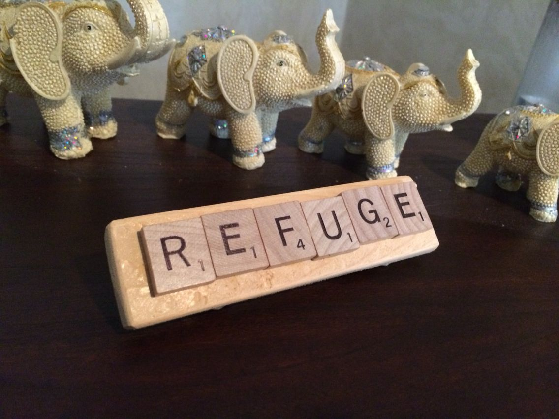 Scrabble pieces glued to wood back w angle pieces