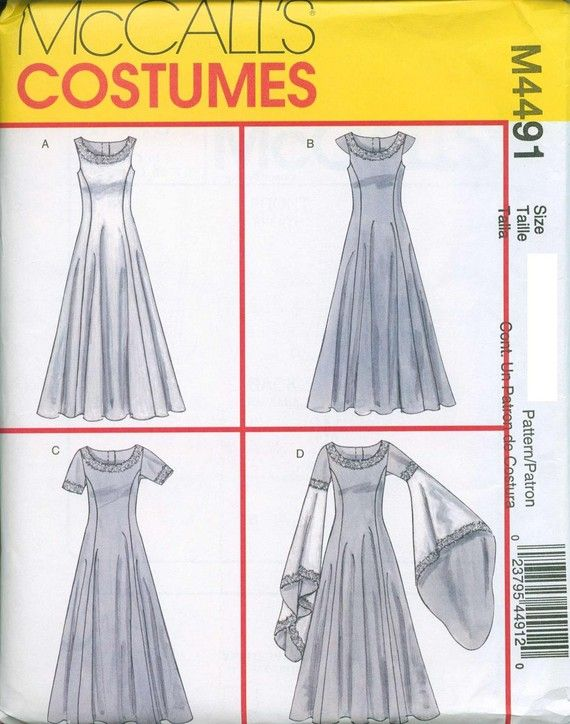 Renaissance Maiden Sewing Pattern McCalls 4491 Medieval Sizes 14-16 ...