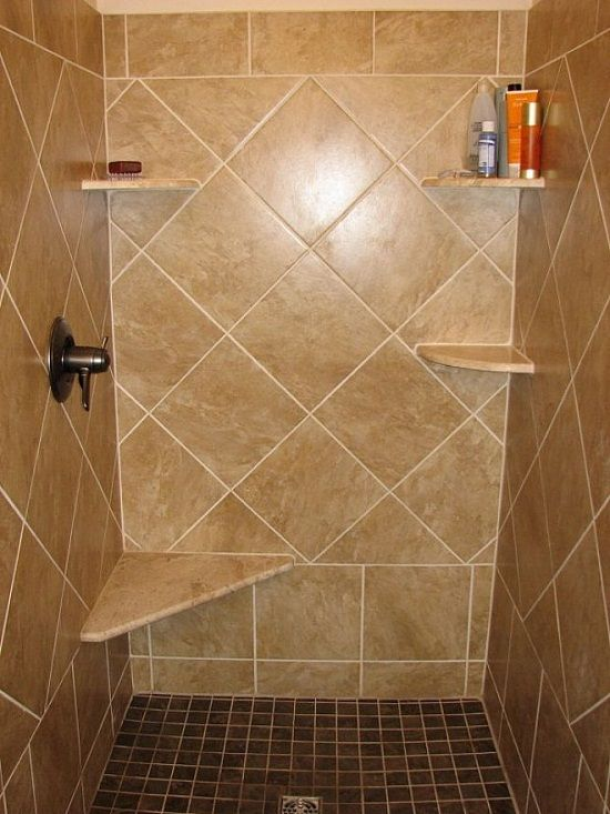 The Bathroom In This Bathroom Shower Ceramic Tile Ideas Looks Excellent Without Being Added With Other Bathro Shower Tile Designs Shower Tile Tile Shower Shelf