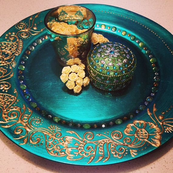 Green & Gold Mehndi Plate Set/Henna Plate For Weddings #greenandgold #mehndi