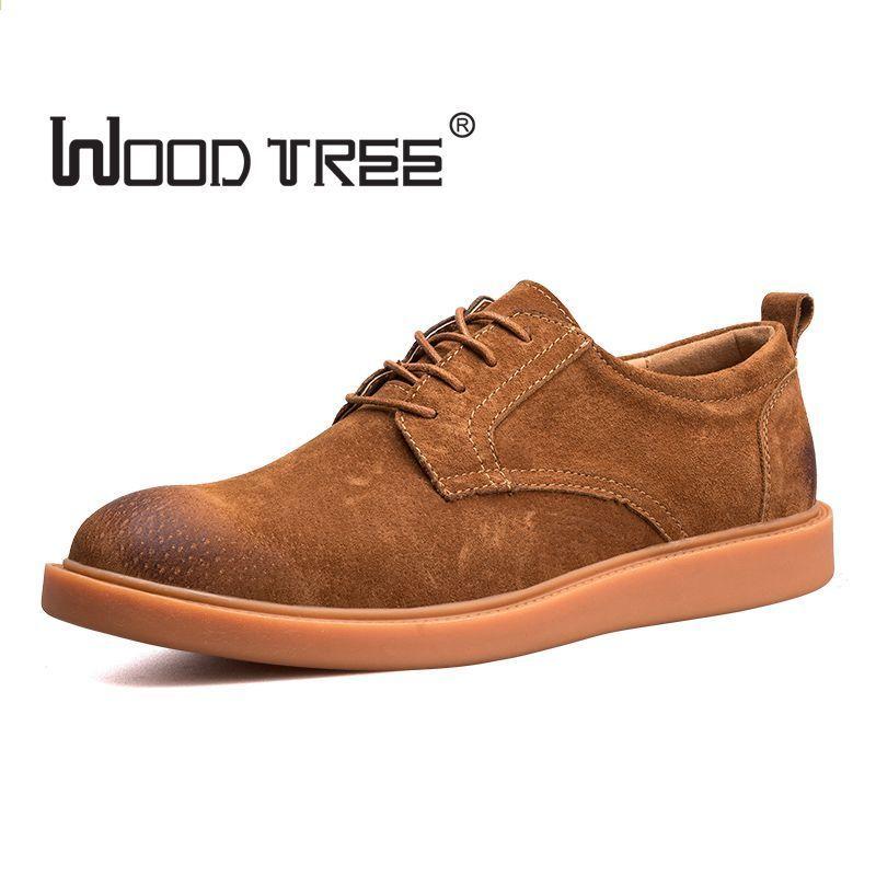 Woodtree 2018 Hot Sprzedaz Moda Meska Suede Leather Obuwie Meskie Wiosna Jesien Fala Marka Designer Casual Men Buty Lace Up Sho Dress Shoes Men Oxford Shoes Men Mens Casual Shoes