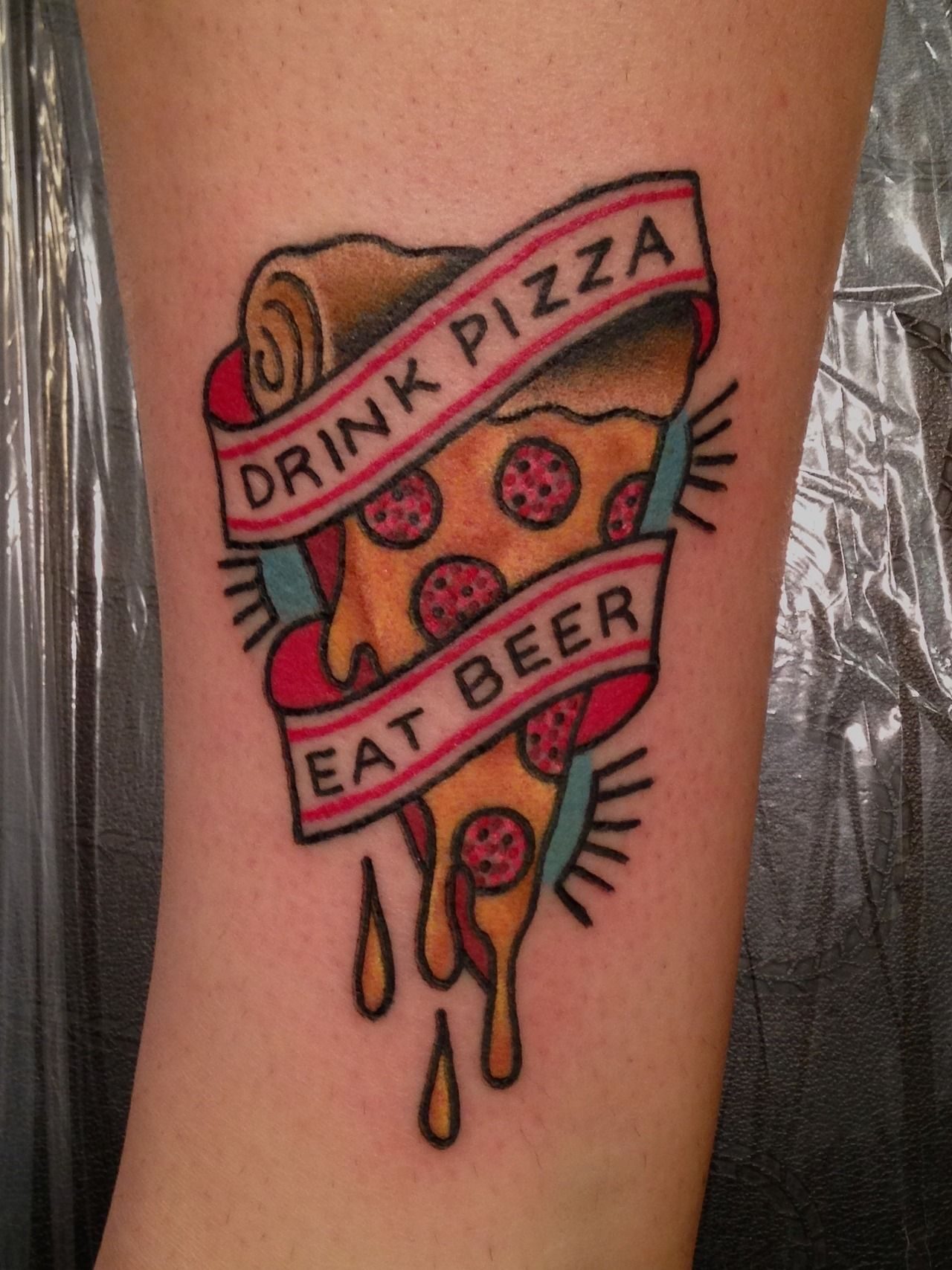 Tattoo Candy In Chicago By Allie Marie She Did A Great Job Beer Tattoos Pizza Tattoo Tattoos