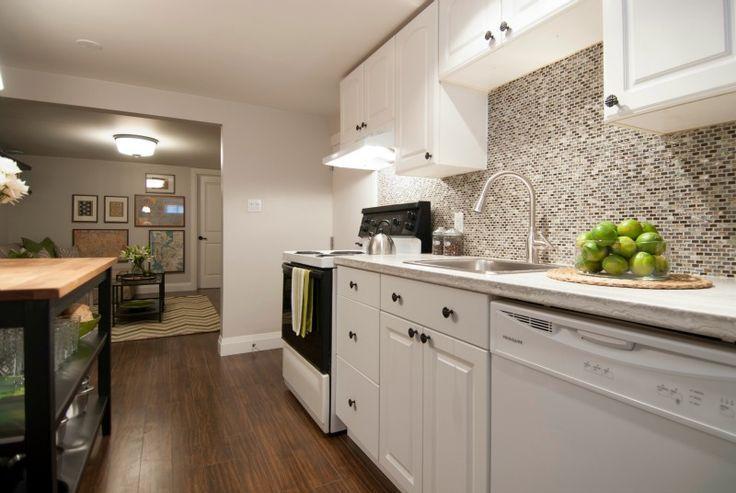 Basement Kitchen Designs Concept white cabinets basement apartment   open concept basement