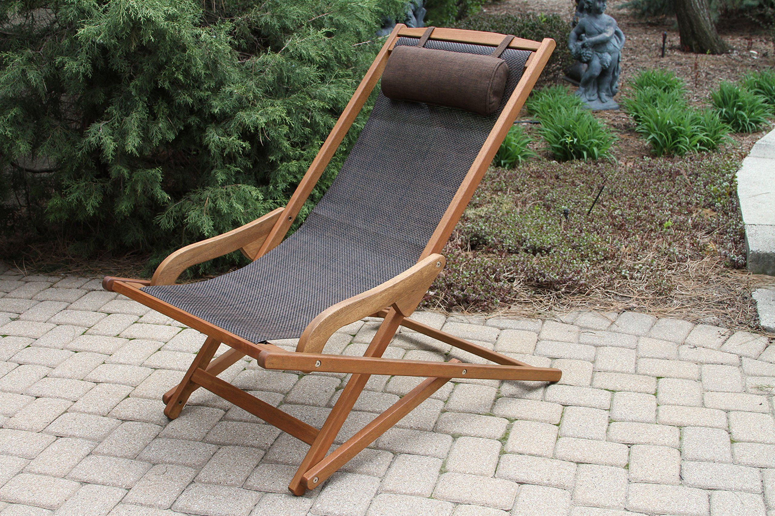 Outdoor interiors sling and eucalyptus lounger