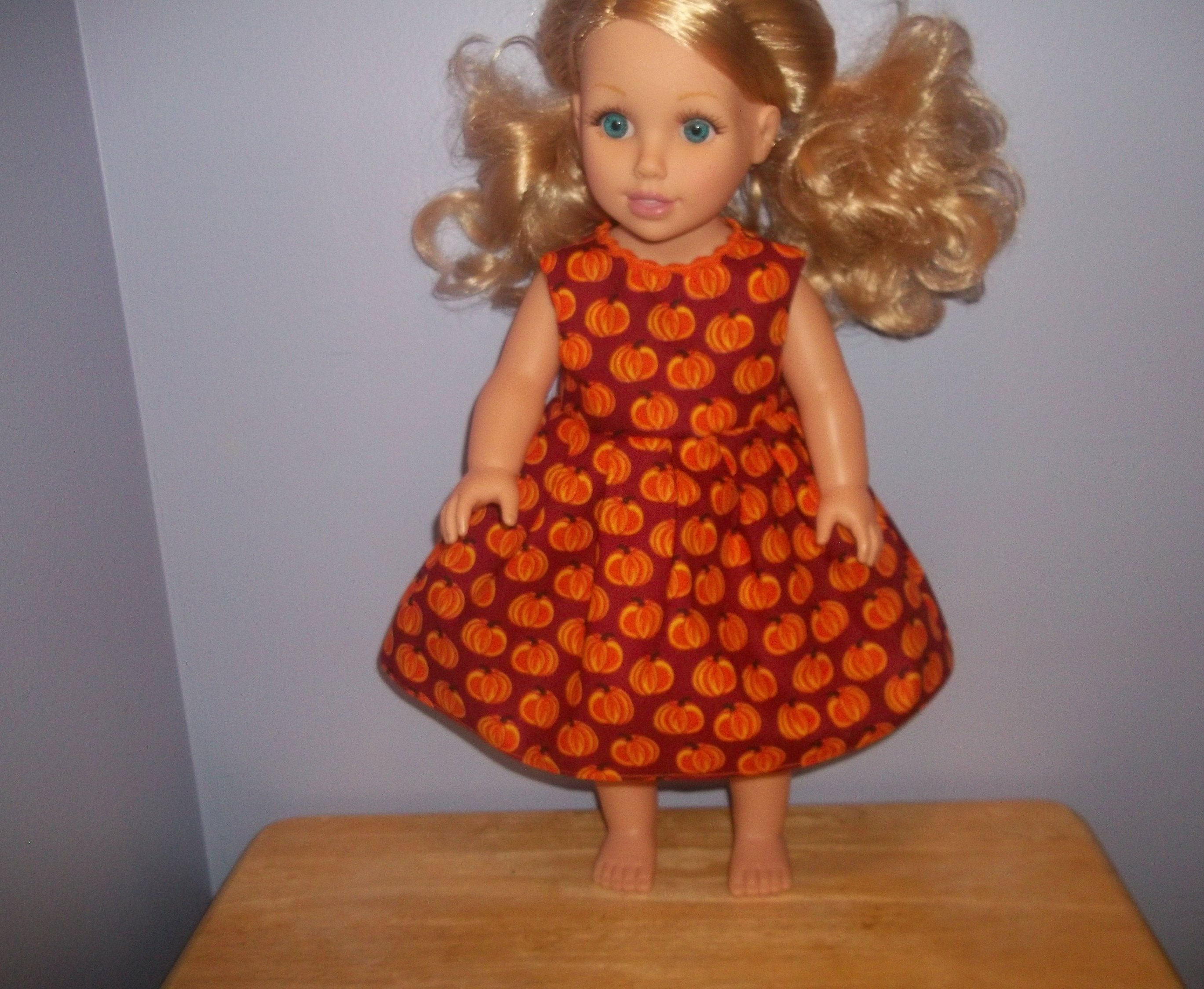 American 18 Inch Doll Clothes dress rust with orange pumpkins #18inchdollsandclothes
