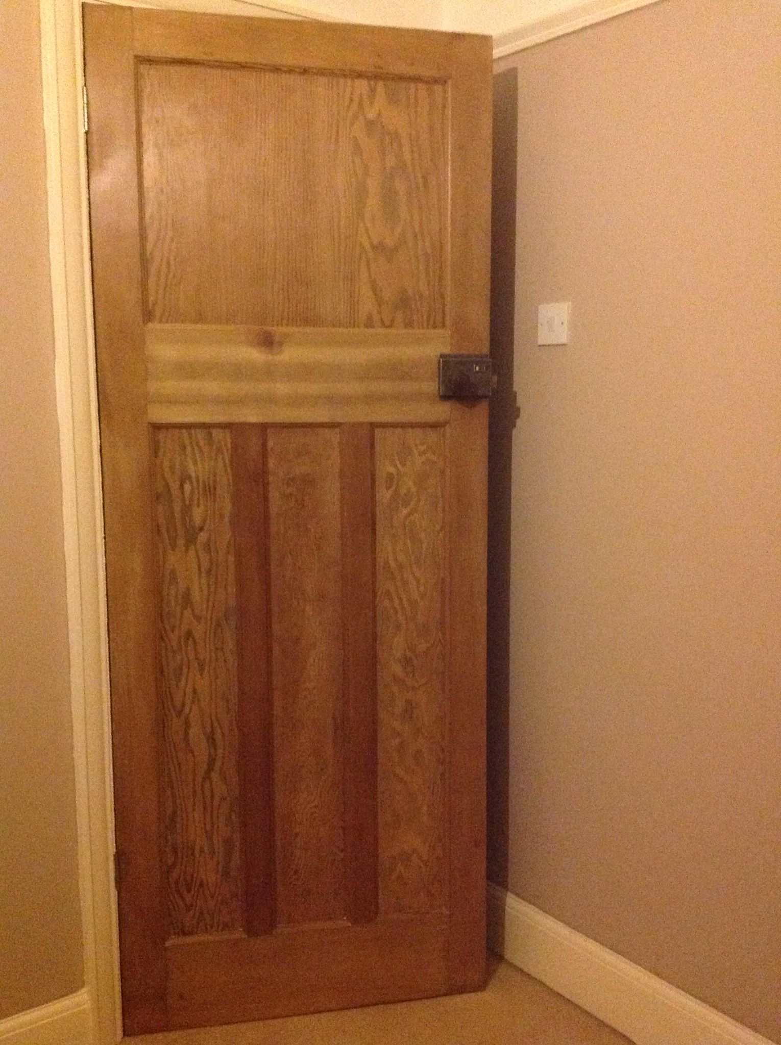 Charming 1 Over 3 Door Stripped Of White Paint, Sanded And Given A Satin Wood Varnish  Finish. Bakelite Door Knob Cleaned Using Wax And Door Furniture Cleaned And  ...
