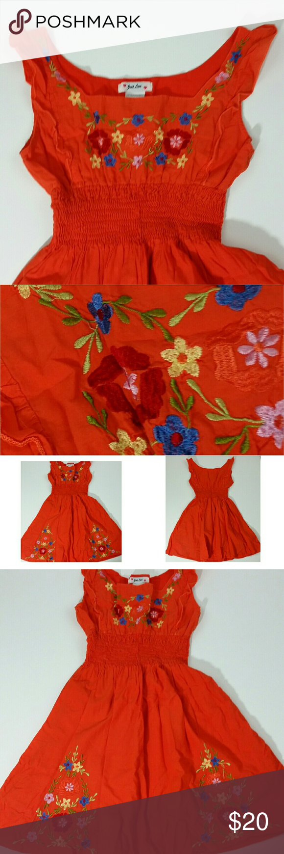 JUST LOVE Boho Embroidered Dress JUST LOVE Womens Large L/12/14 Boho Floral Embroidered Sundress Dress Orange Lined  Gently used, minor flaw barely noticeable, see last photo. Overall still in Great Condition.  See photos for measurements.  Thanks,  Item:  F12 Just Love Dresses