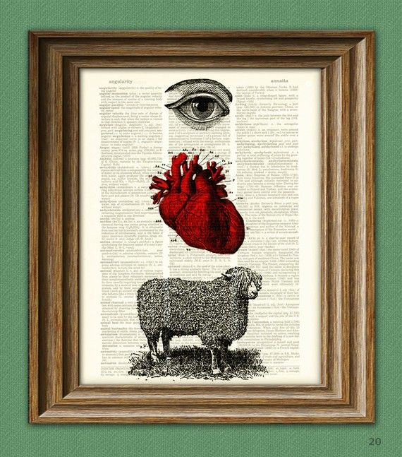 EYE HEART EWE I love You illustration beautifully upcycled dictionary page book art print -- our original design $6.99