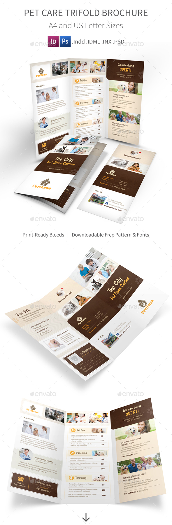 animal shelter pet adoption tri fold brochure template by pet care trifold brochure 3